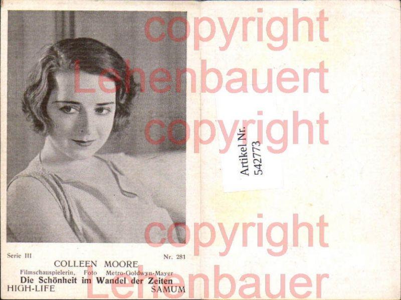 Movie Star Colleen Moore Samum High Life Card 281
