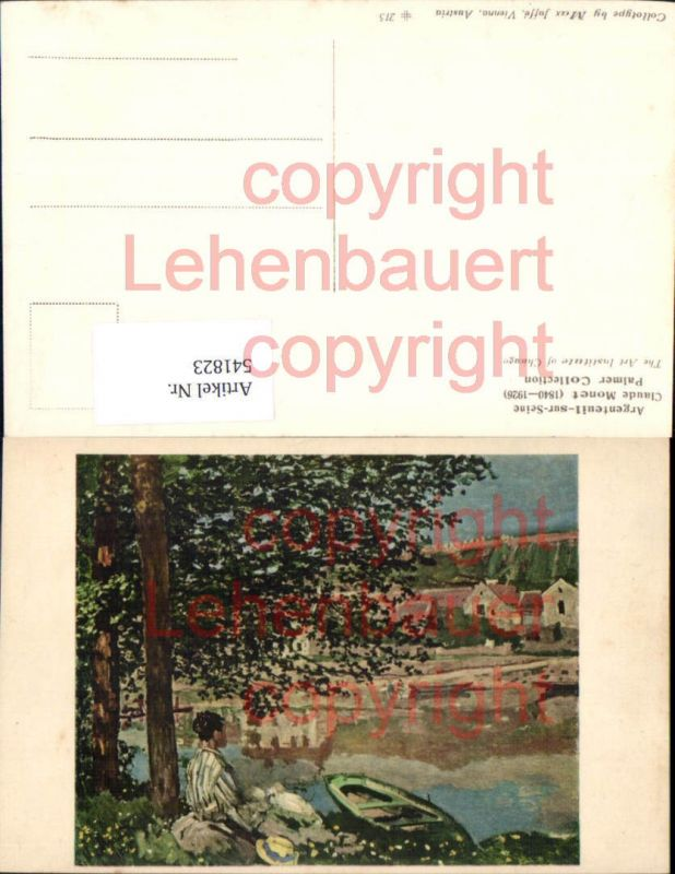 Künstler AK Claude Monet Argenteuil sur Seine pub Max Jaffe Vienna 215