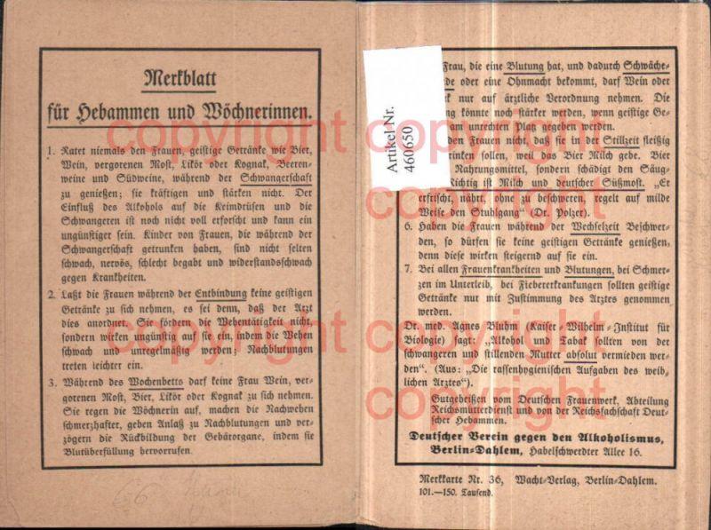 Merkblatt für Hebammen u. Wöchnerinnen Text Alkohol Humor