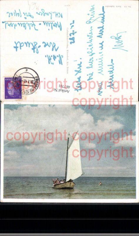 Segelschiff Schiff Segelboot m. Menschen auf Weg zum Ufer