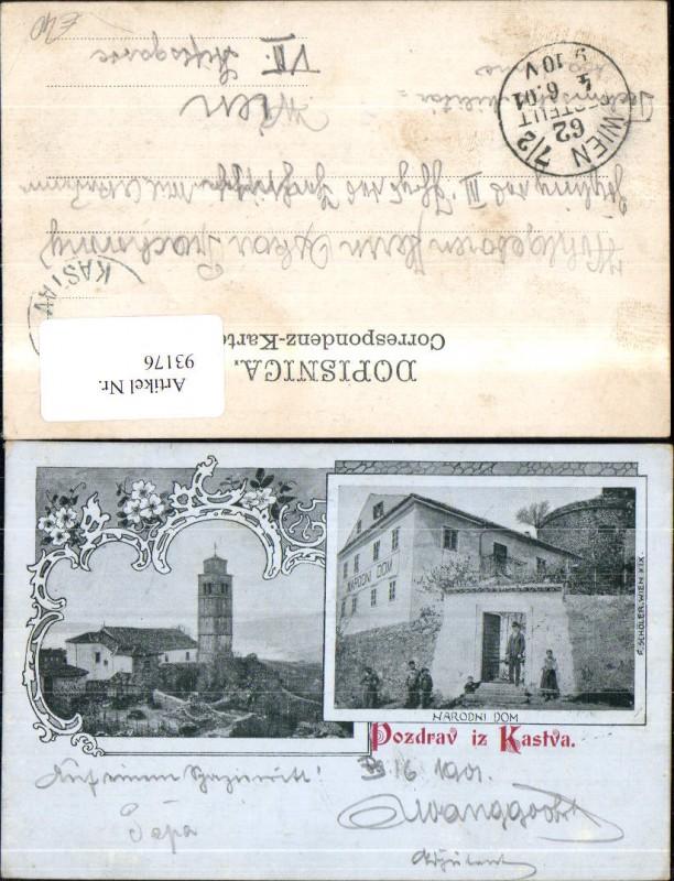 Litho Pozdrav iz Kastva Narodni Dom MehrbildAk 1901
