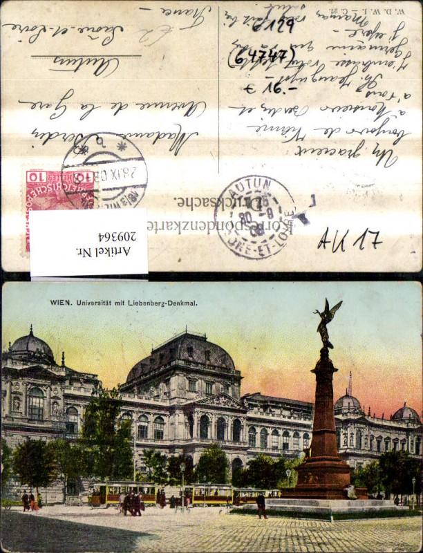 Wien 1 Universität m. Liebenberg Denkmal Strassenbahn