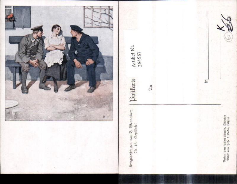 Künstler Ak Brynolf Wennerberg 16 Geplänkel Soldaten m. Frau a. Bank Matr
