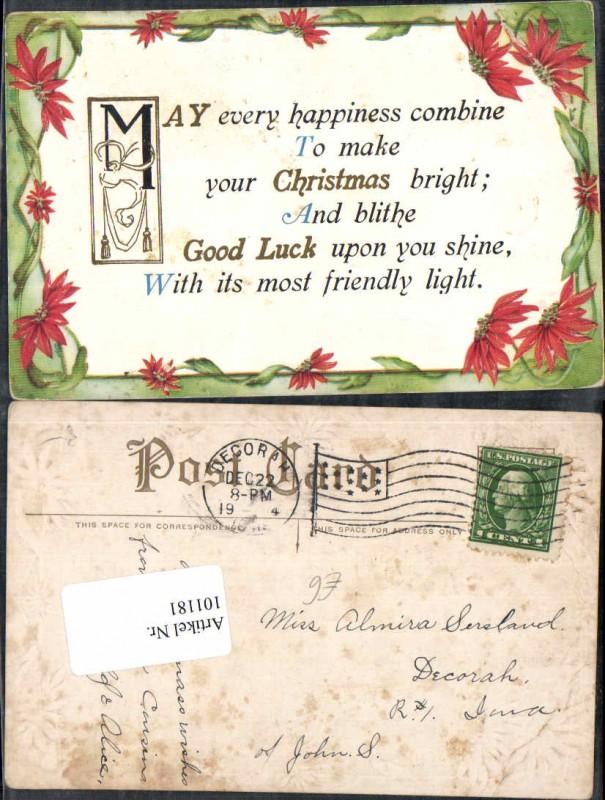 101181;Präge Litho Weihnachten Spruch Englisch Blumen Nr. 101181 ...