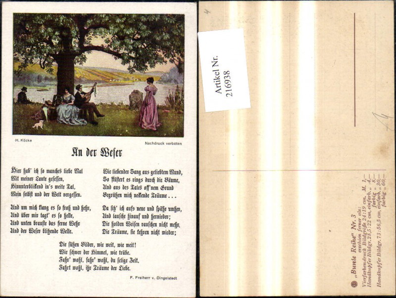 Künstler Ak H. Köcke An d. Weser Text F. Freiherr v. Dingelstedt Liedkart
