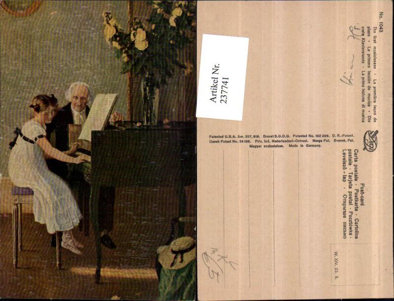 Degi AK 1043 Künstler AK Die erste Klavierstunde Mädchen Kleid Klavier