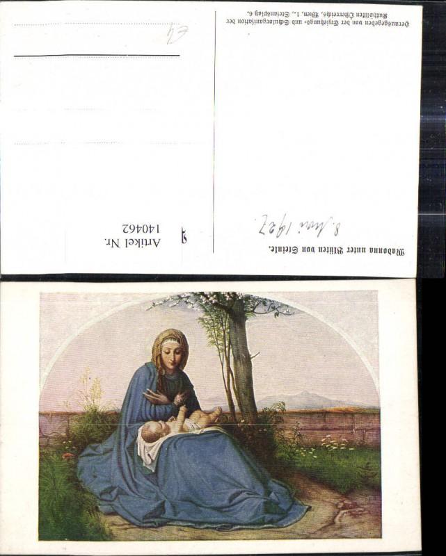 Künstler Ak Madonna unter Blüten v. Steinle Religion