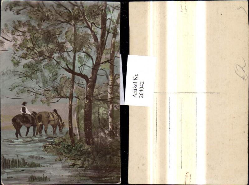 Künstler Ak Mann reitet Pferde i. Bach Tiere