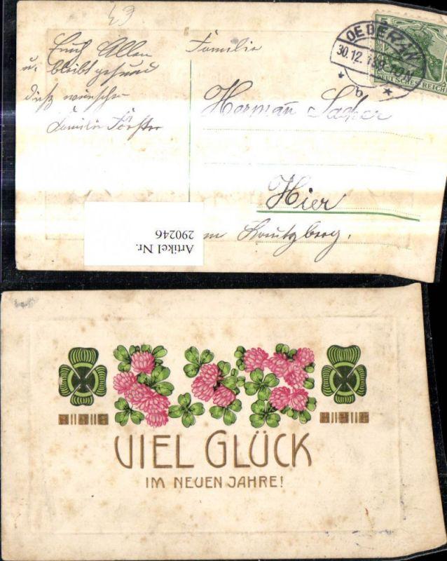 Präge Ak Neujahr Klee Kleeblätter Kleeblüten Goldschrift