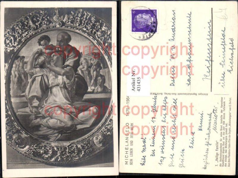 Künstler Ak Tafelwerk Michelangelo Heilige Familie Religion
