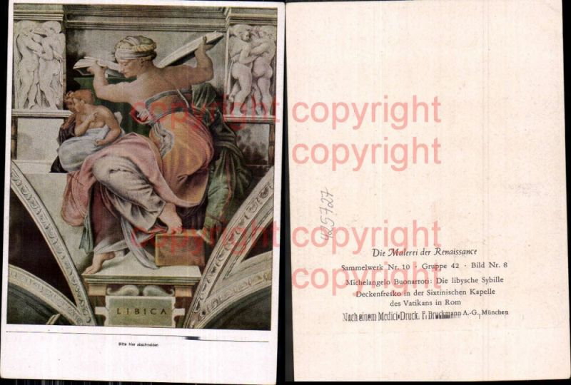 Künstler Ak Michelangelo Buonarroti Die libysche Sybille Erotik Lesen Ren