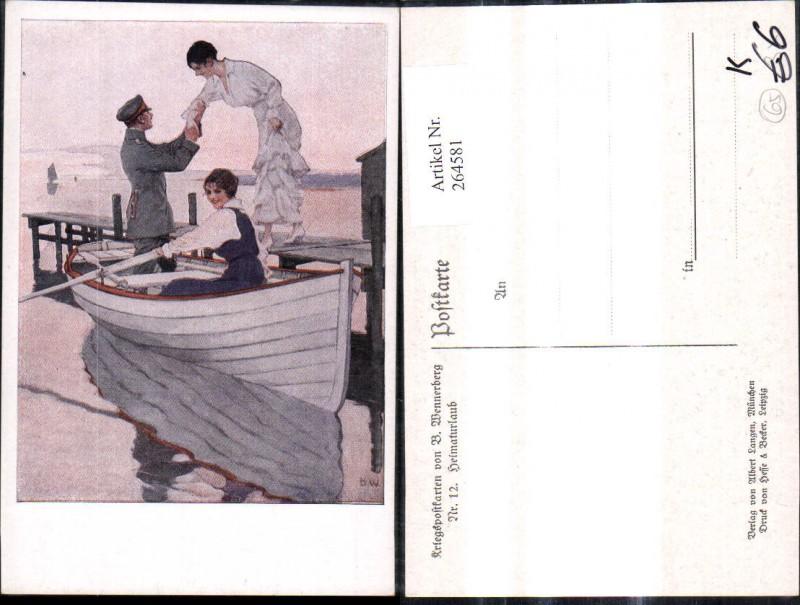 Künstler Ak Brynolf Wennerberg 12 Heimaturlaub Soldat Frauen Ruderboot Bo