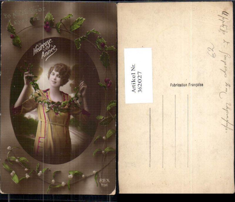 Frau Kleid Stechpalmen Misteln Heureuse Annee pub REX 1136