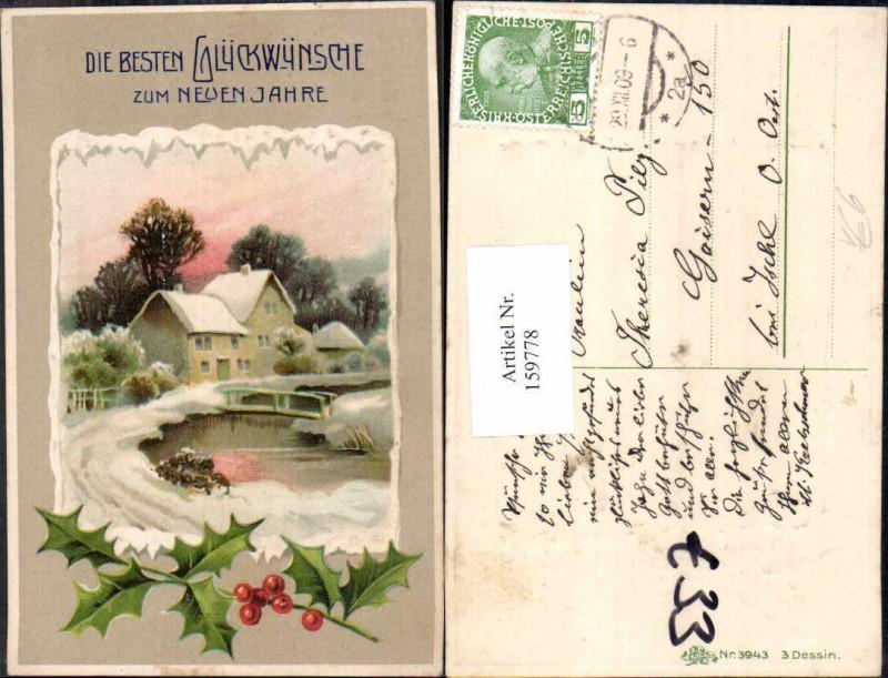 Präge Litho Neujahr Distel Haus pub Erika 3943