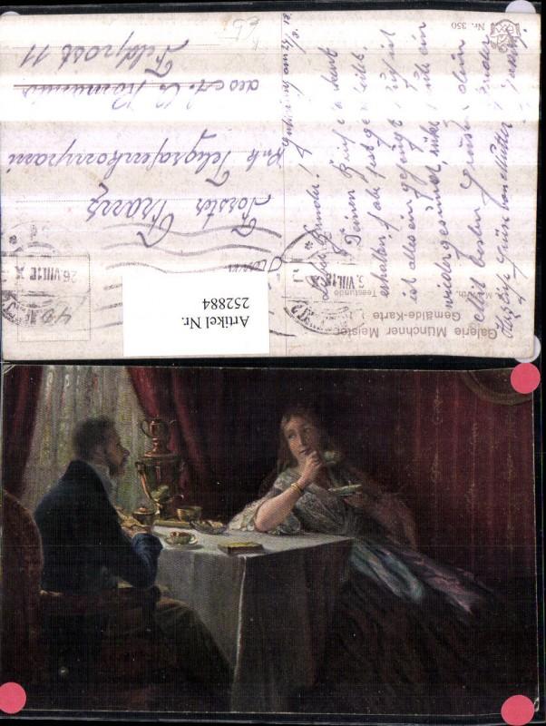Künstler AK A. M. Wirth Teestunde Frau m. Mann am Tisch Teekanne Tassen
