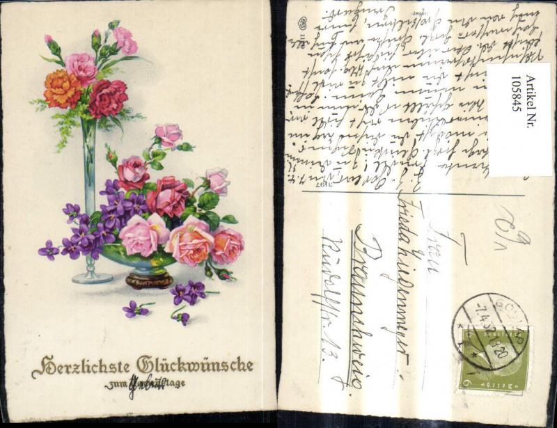 Blumen Vase Schale m. Nelken Rosen Veilchen Präge Schrift Gold pub EAS 11