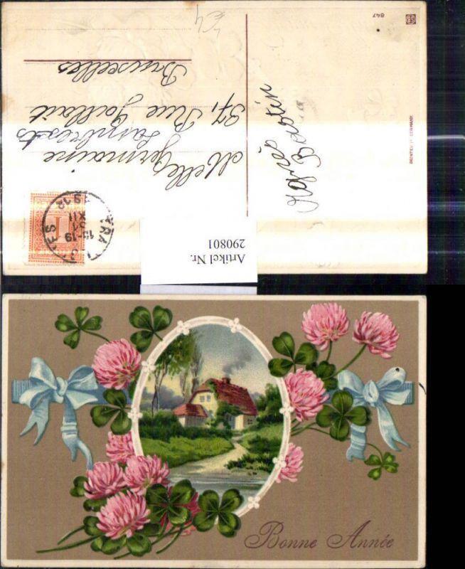Präge Litho Neujahr Haus Landschaft Passepartout Klee Kleeblüten Schleife