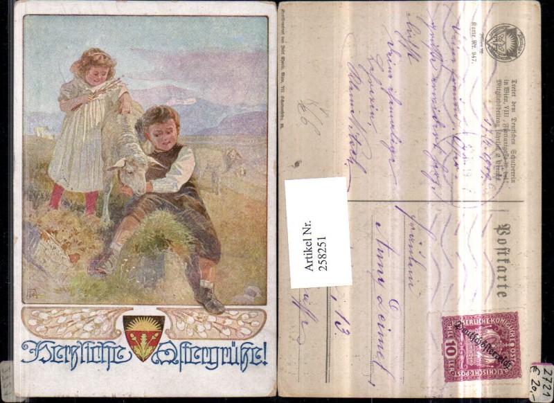 Deutscher Schulverein 947 Künstlerkarte Ostern Kinder Schaf Lamm Palmkätz