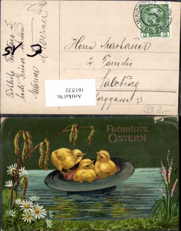 EAS Ostern Küken im Hut als Boot im Wasser