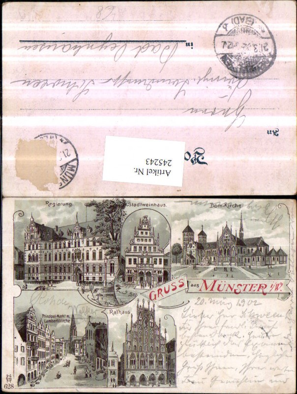 Litho AK Gruß aus Münster Dom-Kirche Regierung Stadtweinhaus Rathaus Mark