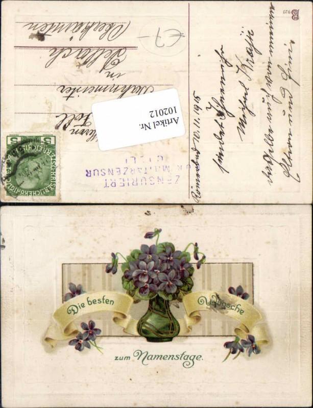 102012;Tolle Präge Namenstag Veilchen Blumen Vase 1910