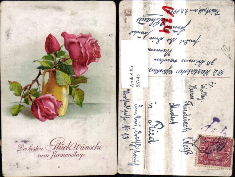 ak namenstag vase mit roten rosen nr 6403073 oldthing. Black Bedroom Furniture Sets. Home Design Ideas