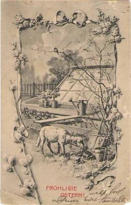 M.M. Vienne 133 Ostern Schaf im Garten F. Döcker sign
