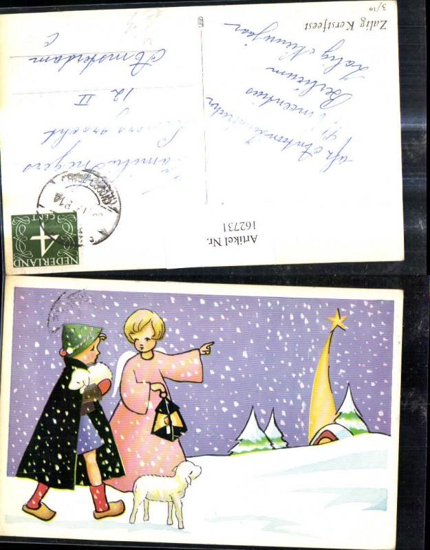 Künstler Ak Weihnachten Hirte Bub m. Schafe Lamm Engel Stern Nr ...