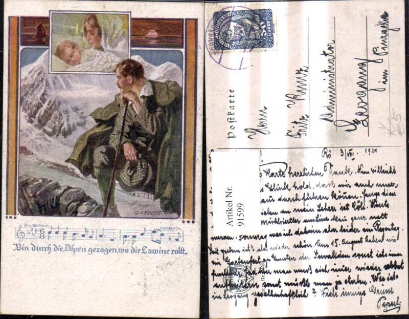 Deutscher Schulverein 1239 W. H. Braun Liedkarte Mann Wanderer Notenzeile