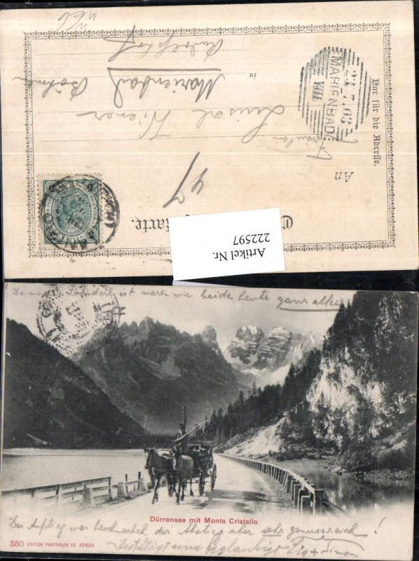 Trentino Dürrensee See b. Toblach m. Monte Cristallo Kutsche Pferdekutsch