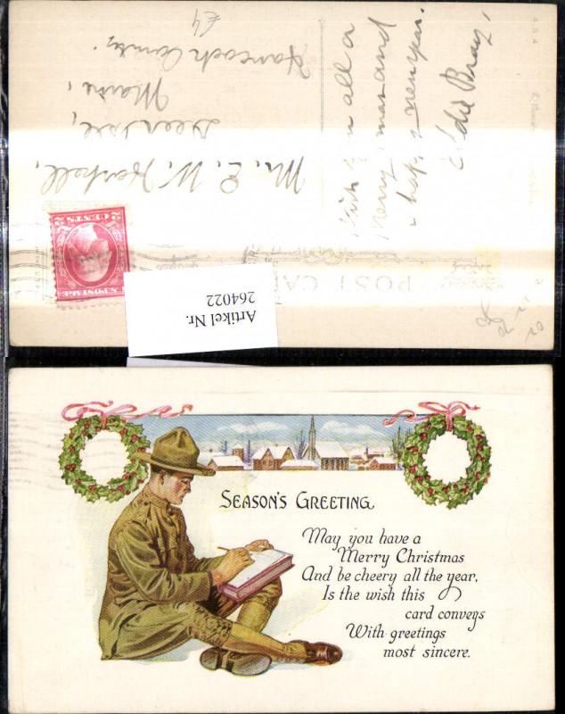 Künstler Ak Lesen Soldat schreibt Brief Seasons Greeting Text ...