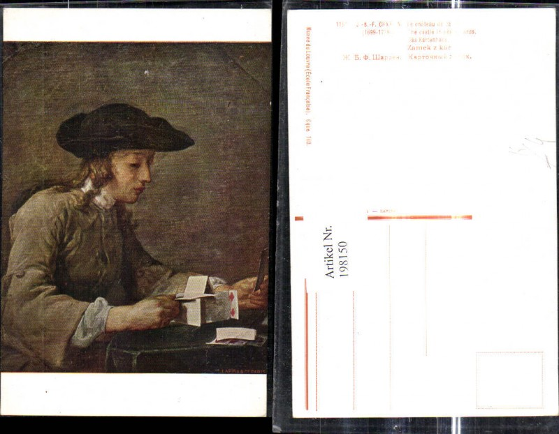 Künstler Ak J. B. F. Chardin The Chastle in pasteboards Mann baut Kartenh