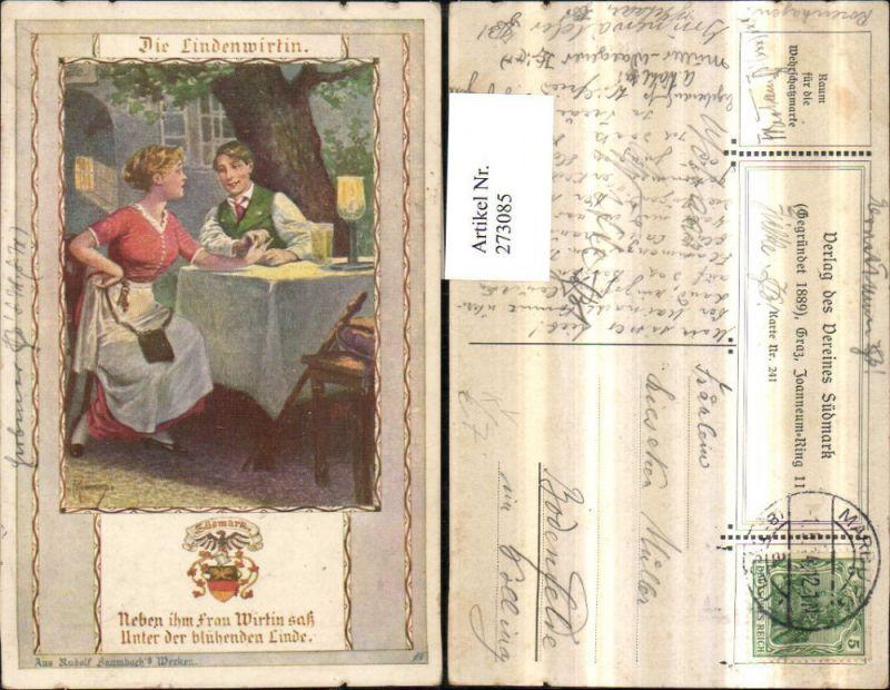 Verein Südmark 241 Künstlerkarte Die Lindenwirtin Mann b. Tisch Frau m. K