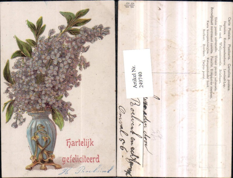 Präge Litho AK Geburtstag Goldverzierung Veilchen Vase