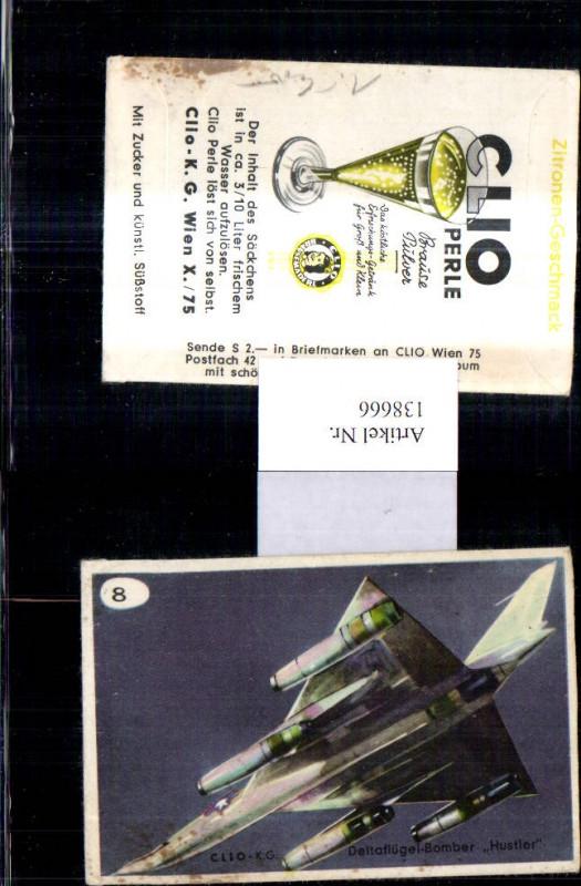 Sammelbild Clio K.G. Wien Clio Perle Brausepulver 8 Deltaflügel Bomber Hu