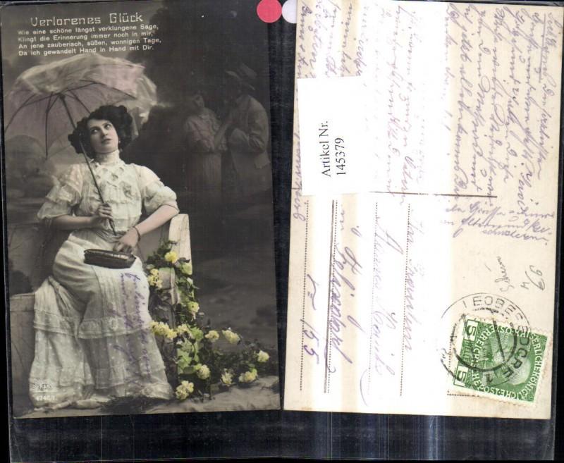 Frau m. Schirm Kleid Handtasche Verlorenes Glück Spruch Text
