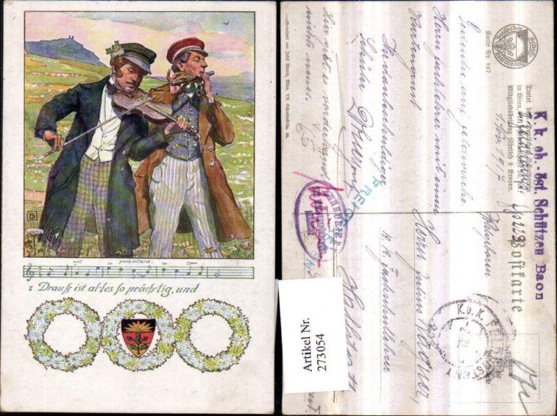 Deutscher Schulverein 107 Künstlerkarte Männer m. Mäntel Mützen Geige Que
