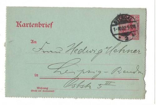 Kartenbrief Stendal n. Leipzig Reudnitz 1902