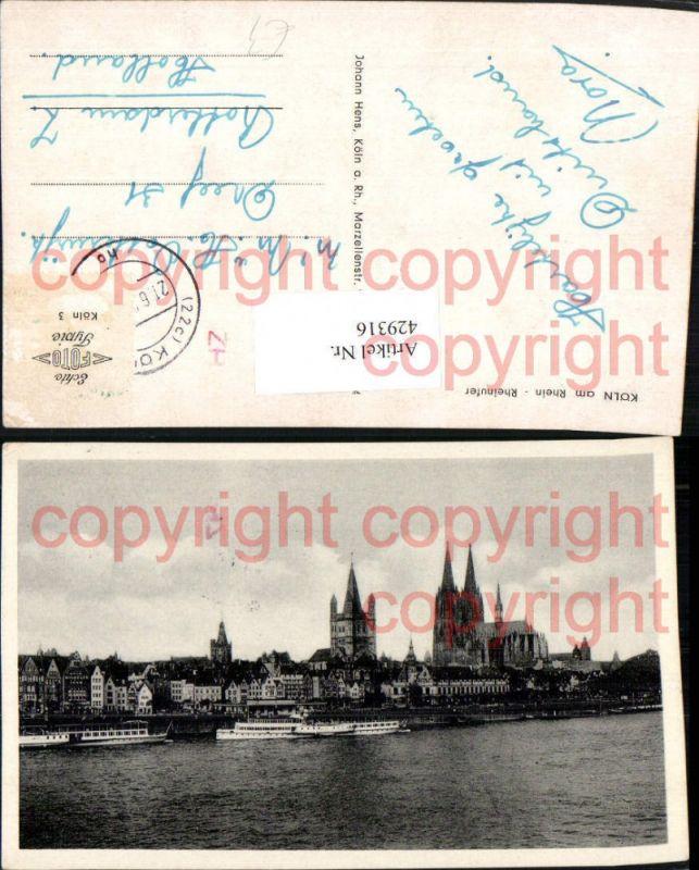 Köln am Rhein Rheinufer Teilansicht Dom