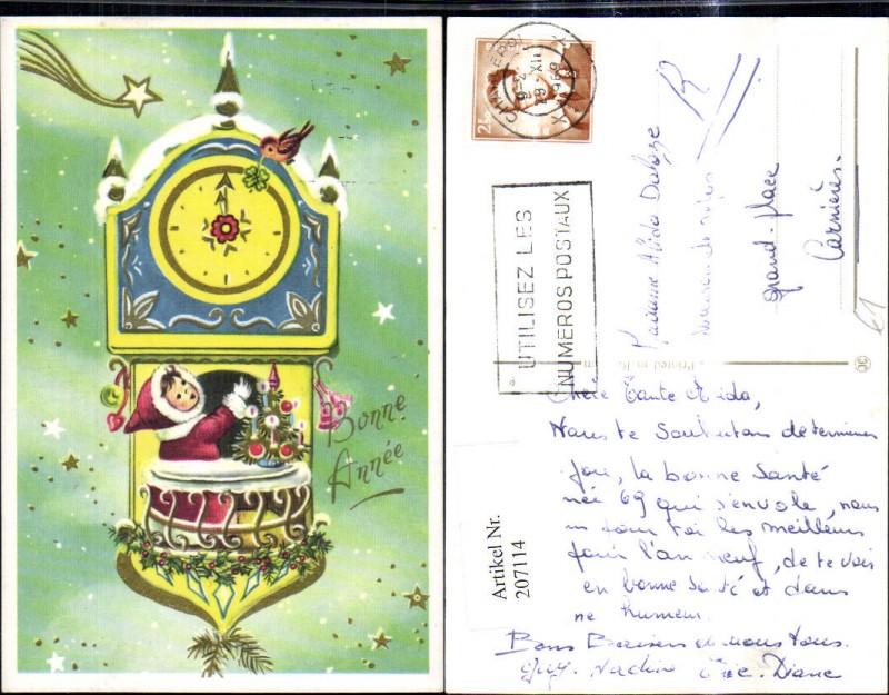 Neujahr Mädchen i. Mantel Pelz Haube Uhr Christbaum Weihnachtsbaum Sterne