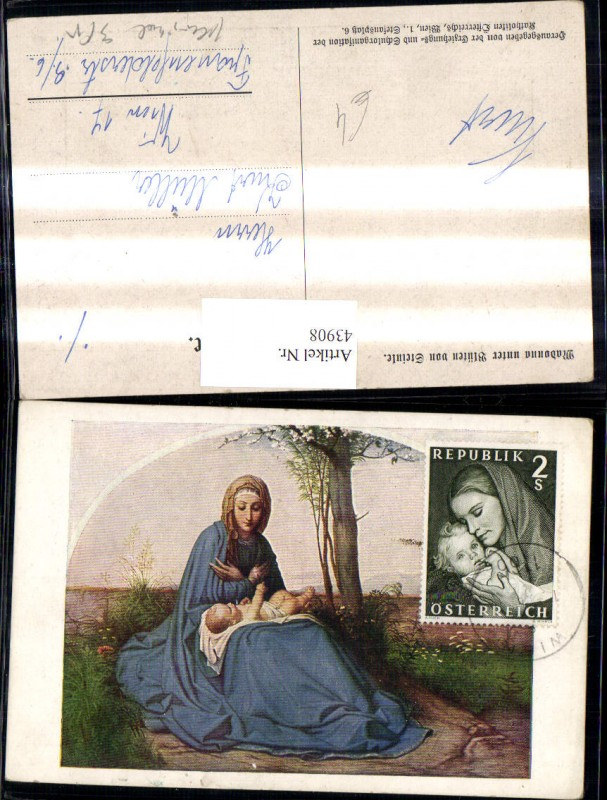 Künstler Ak Religion Madonna unter Blüten v. Steinle