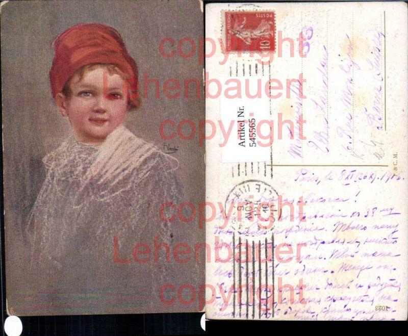 Künstler AK Kinder Kind Junge Bub Hut