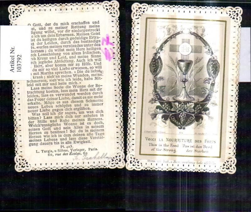Heiligenbild Andachtsbild Andachtsbildchen Heiligenbildchen Kelch Brot Je