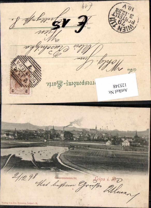 Leipa in Böhmen Gesamtansicht 1898 Ceska Lipa Liberec Reichenberg