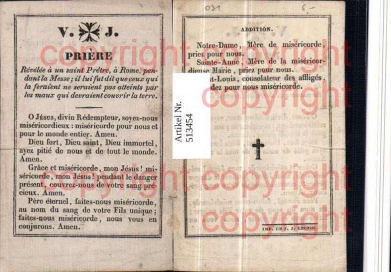 Heiligenbildchen Andachtsbild Priere Gebet Text