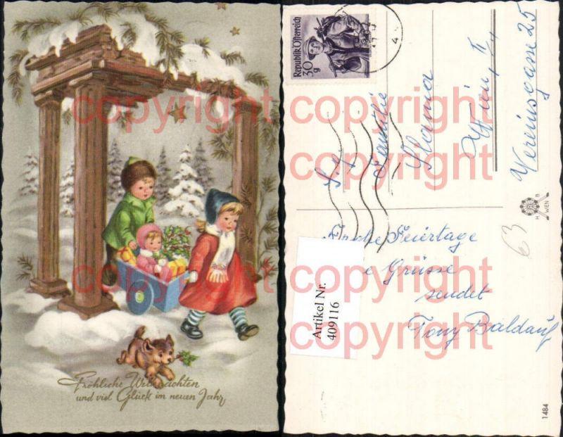 Künstler AK Weihnachten Kinder Wagen Geschenke Hund Nr. 409116 ...