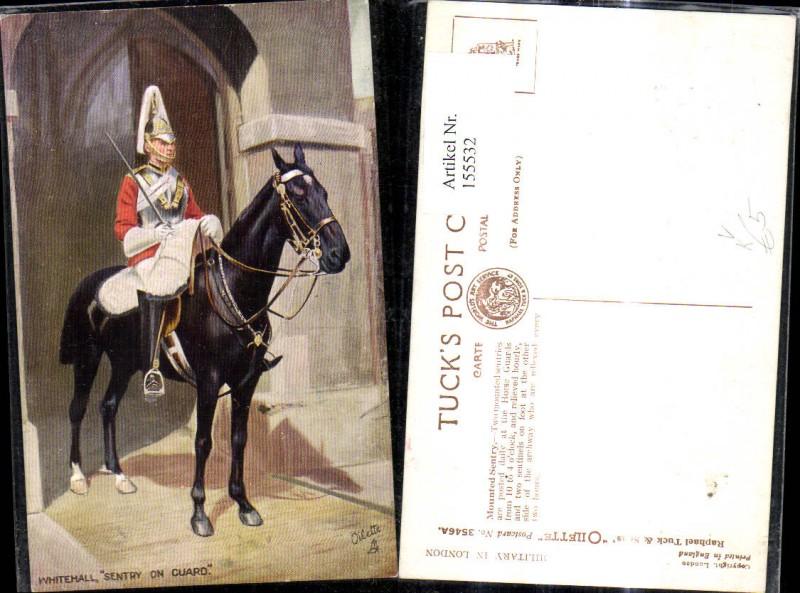 Künstler Ak Whitehall Sentry on Cuard Soldat a. Pferd Uniform pub Raphael