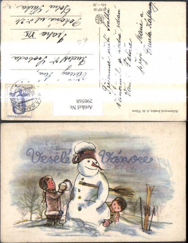 Künstler Ak A. M. Fisera Weihnachten Schneemann Kinder Schneeball ...