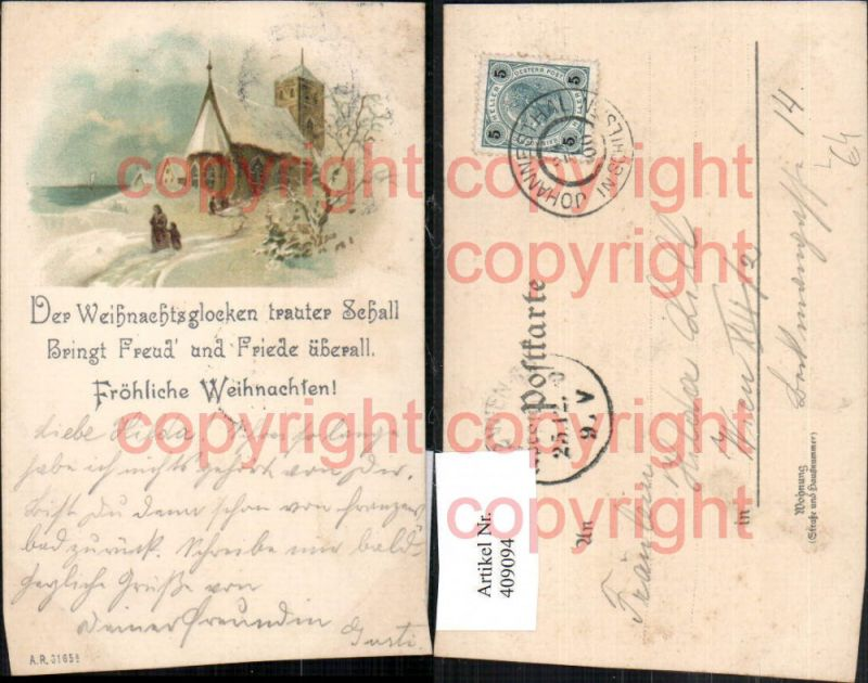 Künstler Litho Weihnachten Winterlandschaft Kirche Spruch Nr. 409094 ...