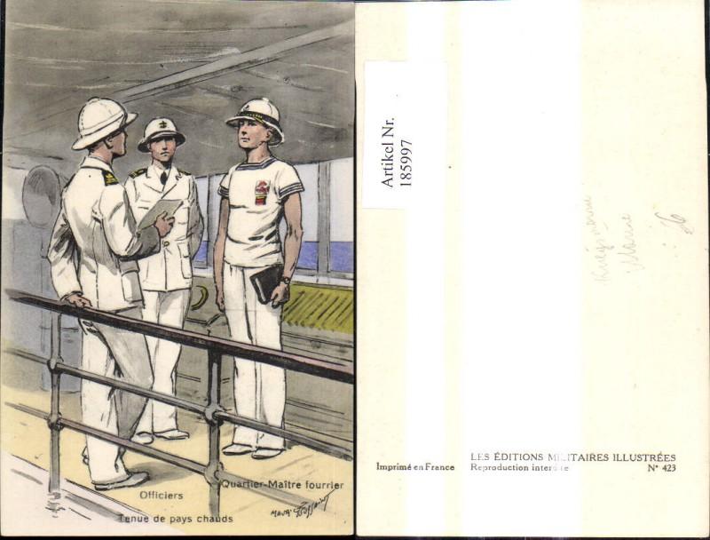 Künstler Ak WW1 Kriegsmarine Marine Officiers Quartier Maitre fourrier Sc